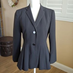 Calvin Klein Black Pleated Blazer Sz 6 EUC